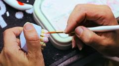 Dental technician making teeth for false dental prosthesis Stock Footage