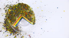Rainbow cake on white table top view 4K Stock Footage