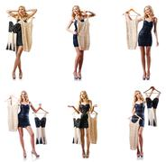 Set of photos with woman trying new clothing - stock photo