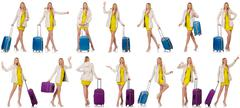 Woman preparing for vacation with suitcase on white - stock photo
