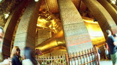 View of the statue in the Wat Pho Temple in Bangok Stock Footage