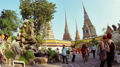 View at the garden of Wat Pho in Bangok Stock Footage