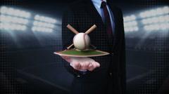 Businessman open palm, baseball, bat, ball.field. Stock Footage