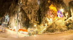Inside view of the Batu caves in Malaysia Stock Footage