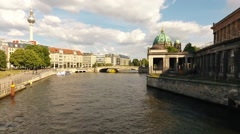 Ship on Spree river naer Berlin Cathedral june 2016 Stock Footage