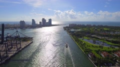 AErial tour Miami Fisher Island Stock Footage
