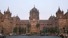 Chatrapati Shivaji Terminus earlier known as Victoria Terminus in Mumbai, India Stock Footage