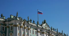 Flag of Russia, Winter Palace, Hermitage Museum, Saint Petersburg Stock Footage