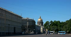 Palace square, St. Isaac's Cathedral, Saint Petersburg - stock footage