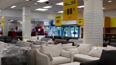 Clearance up to eighty percent off sign inside The bay store Stock Footage