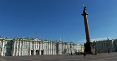 Winter Palace, Palace square, Hermitage, Alexander column, Saint Petersburg Stock Footage
