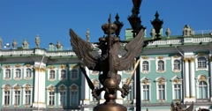 Double-Headed eagle, fence of the Alexander column, Hermitage, Saint Petersburg Stock Footage
