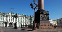 Saint Petersburg, Winter Palace, Hermitage, pedestal of the Alexander column Stock Footage