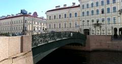 Moyka river embankment, the Singing bridge, Saint Petersburg Stock Footage