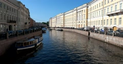 Moika river, the ship in the distance, Saint Petersburg Stock Footage