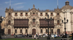 Wide view of the exterior of the archbishop's palace in lima, peru Stock Footage