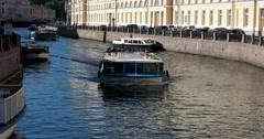 Moika river, Singing bridge, ships, Saint Petersburg Stock Footage
