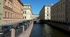 The Embankment Of The Winter Canal, Saint Petersburg Stock Footage