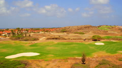 Aerial from a golf course on Aruba island in the Caribbean - stock footage