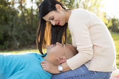 Romantic Latino Couple on a Picnic - stock photo
