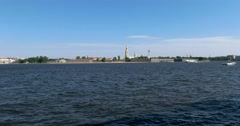 Neva river, Peter and Paul fortress, ships, Saint Petersburg - stock footage