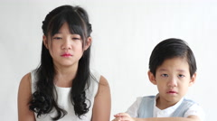 Asian children crying Stock Footage
