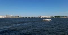 Vasilievsky island, Neva river, Rostral columns, ship, Saint Petersburg Stock Footage