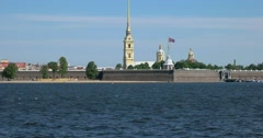 Neva river, Peter and Paul fortress, the flag, Saint Petersburg - stock footage