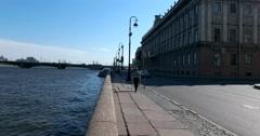 Troitskiy bridge, Neva river, Palace embankment, Saint Petersburg Stock Footage