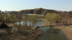 Spring Landscape of Yongbongsan Mountain in Seoul, Korea Stock Footage