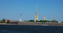 Peter and Paul Cathedral and fortress, Neva river, Saint Petersburg Stock Footage