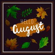 Hello August. Vector illustration - stock illustration