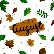 Hello August. Vector  seamless pattern. - stock illustration