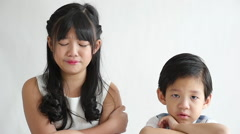 Asian children crying,slow motion Stock Footage