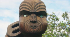 Maori Carving at Karekare beach, Auckland, New Zealand Stock Footage