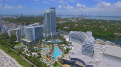 Aerial video of the Fontainebleau Hotel Miami Beach Stock Footage
