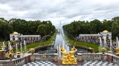 The Samson fountain in Peterhof top view Stock Footage