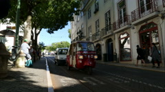 Historic old tram in streets of Lisbon Stock Footage