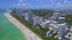 Airplane view of Miami Beach Stock Footage