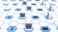 4k electronic equipment on the tech hexagon background. Stock Footage
