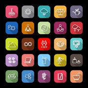 Zen concept line icons with long shadow Stock Illustration