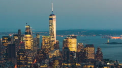 Day-to-Night Time Lapse View of Manhattan Skyline, New York City, United States Stock Footage