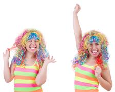 Woman with colourful wig isolated on white Stock Photos