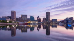 Baltimore, Maryland, USA skyline at the Inner Harbor. Stock Footage