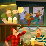 Irish Pub Background - stock illustration