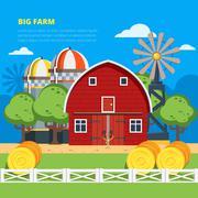Big Farm Flat Composition - stock illustration