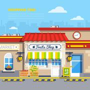 Street Shops Flat Design Concept Stock Illustration