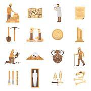 Archeology Icons Set Stock Illustration