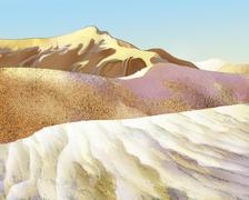 Sand Dunes in the Desert - stock illustration