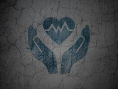 Insurance concept: Heart And Palm on grunge wall background - stock illustration